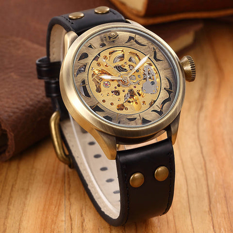 Brand Clock men Skeleton mechanical Watch men automatic self wind Vintage luxury quality gift Steampunk New