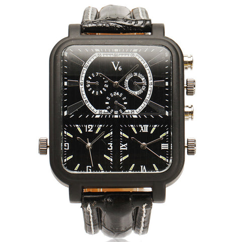 Black Leather Quartz Analog Watch For Men Sport Military Watch