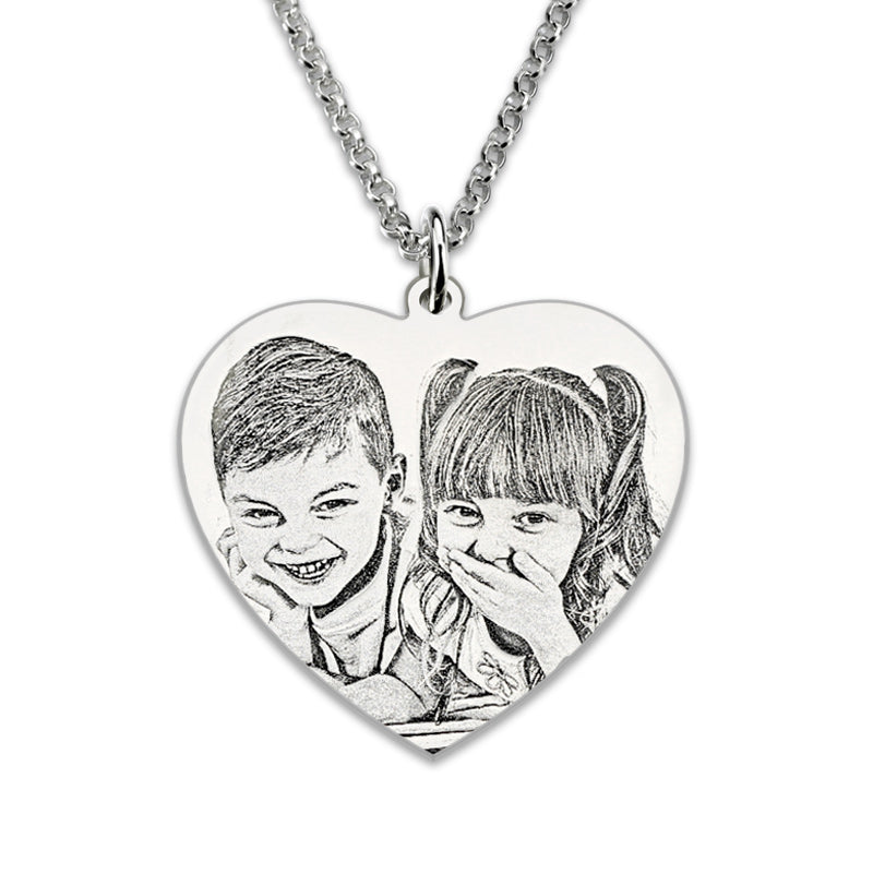 Personalized Photo  Heart Necklace Sterling Silver