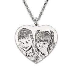 Image of Personalized Photo  Heart Necklace Sterling Silver