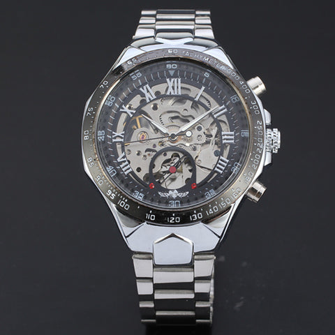New Skeleton Automatic Watches For Men Stainless Steel Wrist Watch