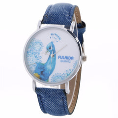 Women Creative Pattern Quartz Watch Leather Straplt Table Watch