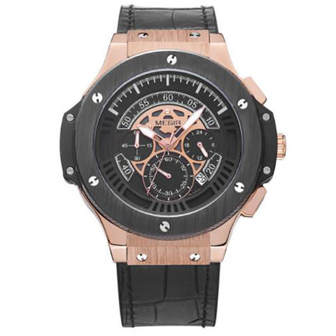 Men's Watch Leather Chronograph Military Watches Sports Quartz