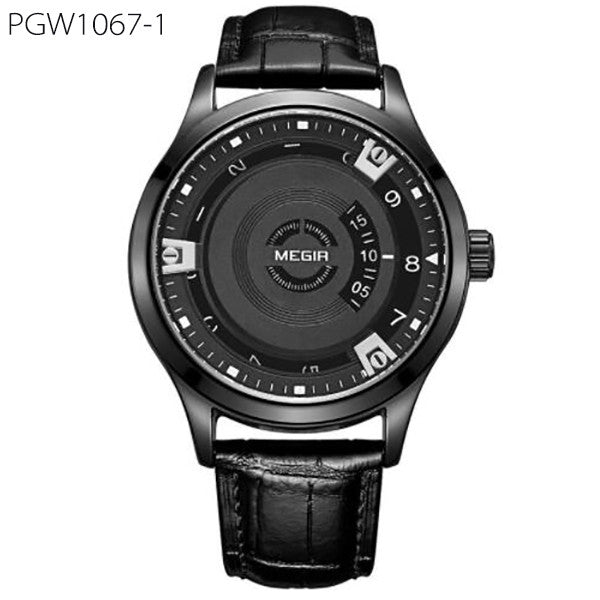 Men Watch Genuine Leather Engraved Dial Military