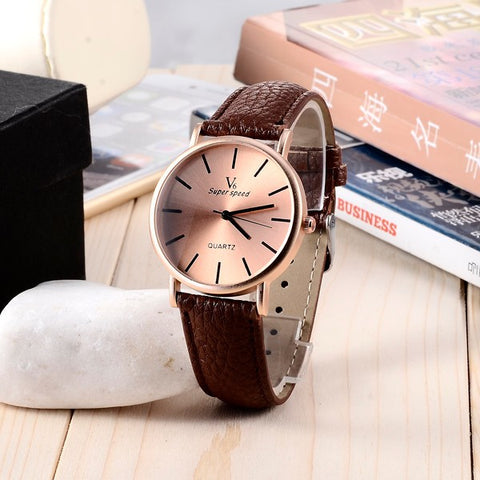 V6 Fashion Rose Gold Women Watches Ladies Watch Leather Strap Quartz Watch Women Hour Clock relogio feminino relojes mujer 2016