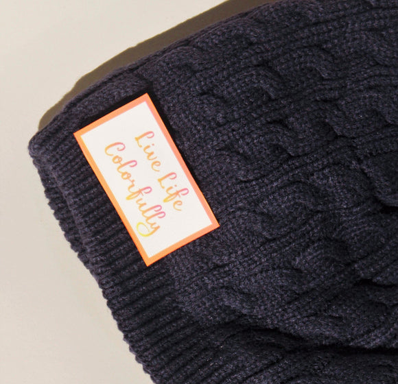 Dark Blue Cable Knit Beanie