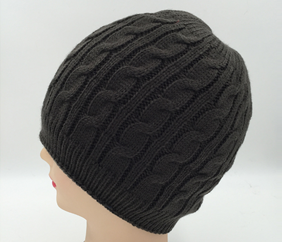 Dark Brown Cable Knit Beanie