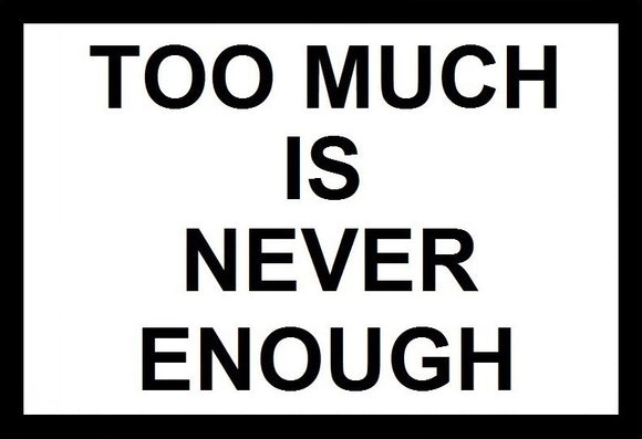 Too Much Is Never Enough SayIt