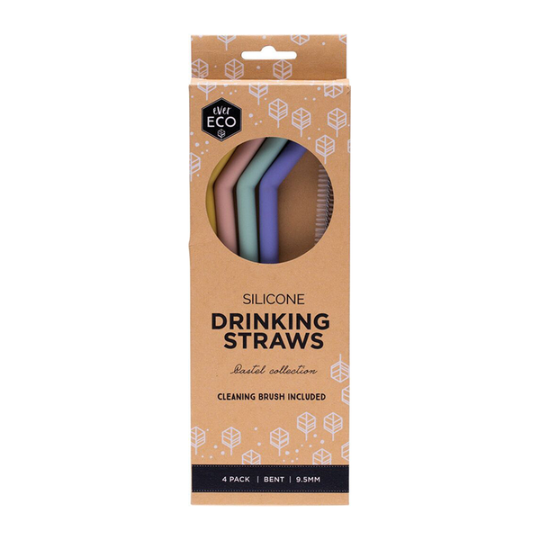 Ever Eco Silicone Drinking Straws 4 Pack Bent Sustainahome