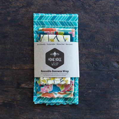 Honeybee Wrap Reusable Beeswax Wrap Kitchen Collection Pack (Set of 4)
