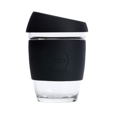 Joco Reusable Glass Coffee Cup Black