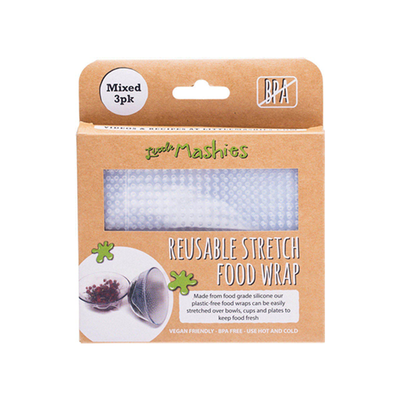 Little Mashies Reusable Stretch Food Wrap Mixed 3 Pack Packaged