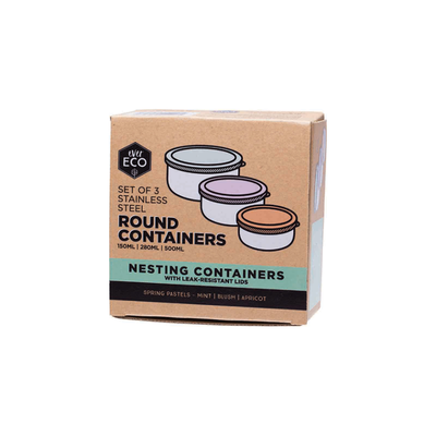 ever ECO Stainless Steel Round Nesting Containers - Set of 3