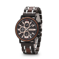 Mens Wood Watches Top Brand Luxury Military Stainless Steel Chronograph Wristwatch e