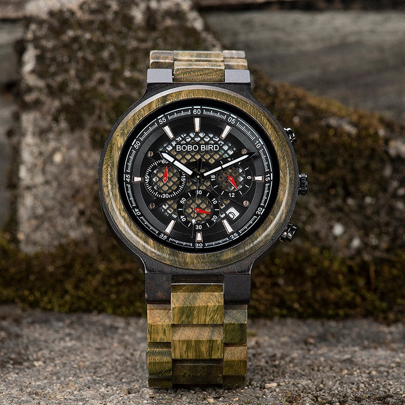 Men Watches Personalised Wood Watch for Him Handmade Lightweight Chronograph