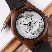 Photo Engraved Wooden Watch as Gift for Him or Her Custom Grooms Gift Birthday Holiday Anniversary