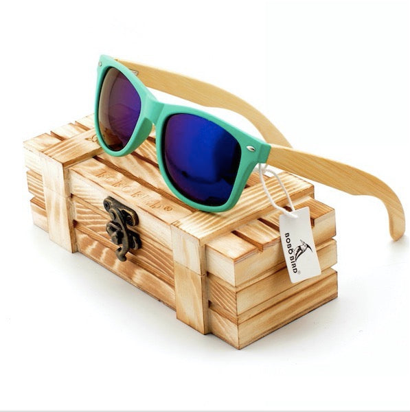 Fashion Polarized Eye wear Sunglasses Bamboo Wooden Holders Sunglasses