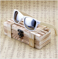 Rectangular Genuine Real Bamboo Wood Polarized Sunglasses With Reflective Mirror Tint