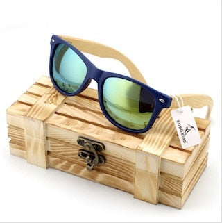 Bamboo Wood Sunglasses in Vintage Style with Plastic Frame and Polarized UV Protection Colorful Lens