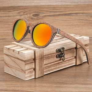 Wooden Sunglasses Cork Frame With Polarised Sun Glasses UV Protection For Women