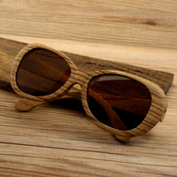 Wooden Sunglasses With Polarised Glasses, Bamboo Zebra Wood Brand Design Beach Sunglasses For Women