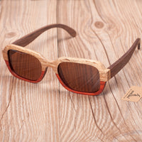 All Wood Polarized Sun Glasses With Color Blocking Design