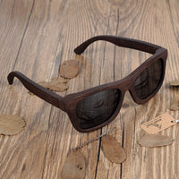 100% Natural Ebony Wooden Sunglasses Luxury Brand Design Square Polarized Sun Glasses