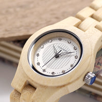 Bamboo Women Wooden Watches Crystal Dial Dress Watch