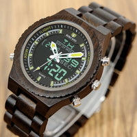 Wooden Mens Watches Multifunctional Wristwatch with Night Light and Week Display
