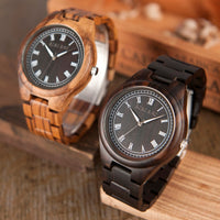 Mens Wood Watch Roman Numerals Plate Wristwatch with Wooden Links