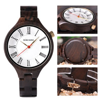 Simple Wooden Watches for Women Classic Black Ladies Watch