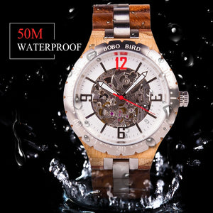 Luxury Mechanical Wooden Watch For Men Water Resistant