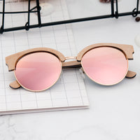 Sunglasses Polarized Wood Sun Glasses Retro Pink Gold Lens Glasses UV400