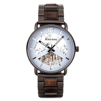 Men Wood and Metal Watch with Date Display