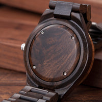Wooden Timepiece Men Wooden watch with Golden and dark Dial