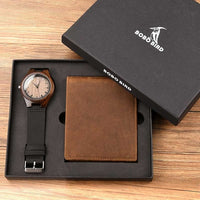 Personalised Bifold Wallet and Wooden Watches for Men Engraved