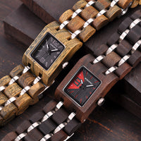 Wooden Women's Watches Top Fashion Square Dial Watch Collection for Ladies