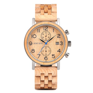 Business Stainless Steel Watch Hand Crafted Wood Wristwatch for Men with Date Display