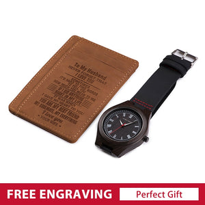 Personalized ID Card Holder Wallet and Wooden Watches for Men Engraved Gift Set