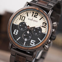Chronograph Men Watch Wooden Brand Luxury Metal