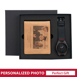 Personalised Gift Set Bifold Wallet and Wooden Watches for Men Custom Gift for every occasion