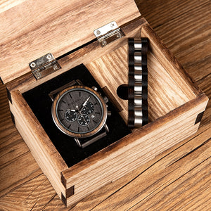 Wood Watch and Bracelet Set for Men Chronograph Wristwatch Gift Set for Him