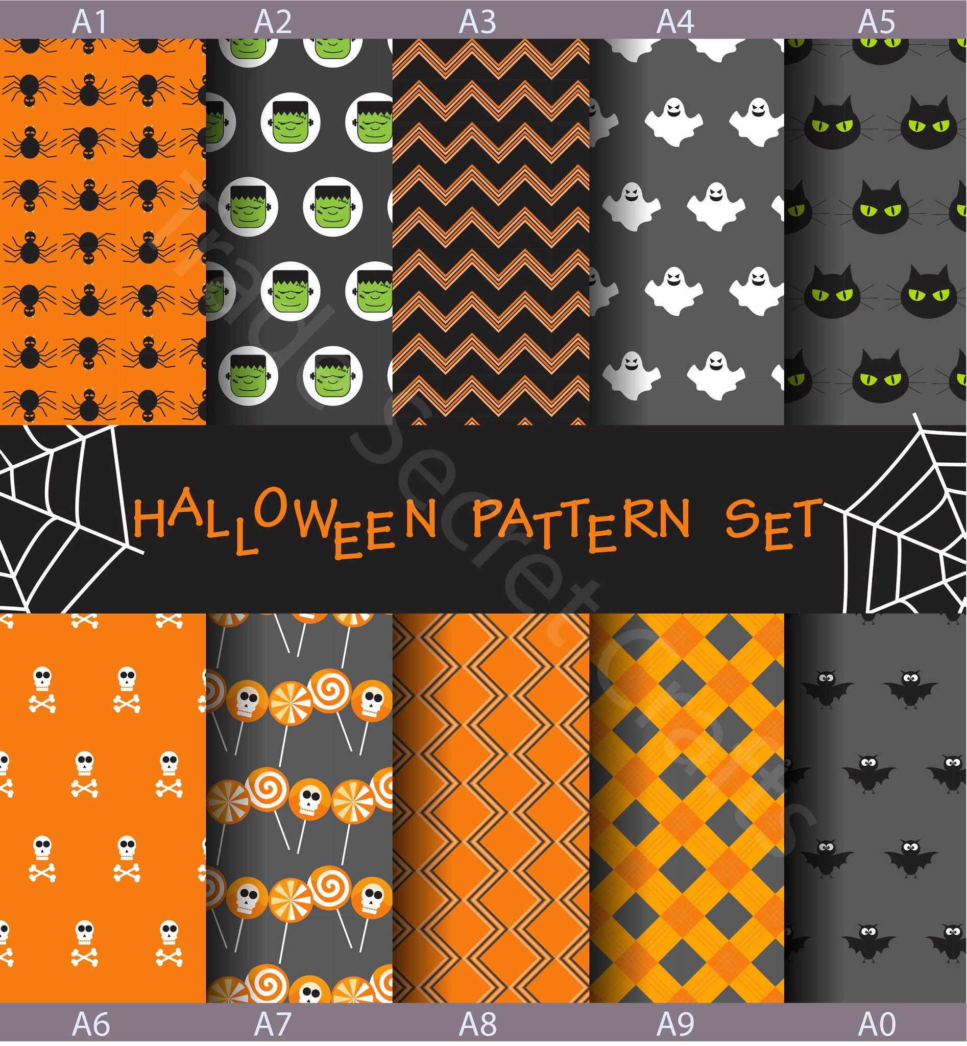 5PC Variety Pack: Halloween Printed Cow Hide Craft Leather