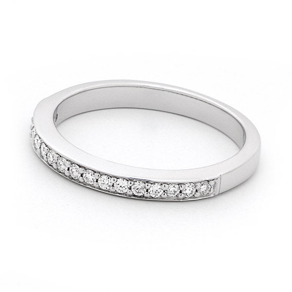 18ct White Gold Bead Set Diamond Wedding Ring