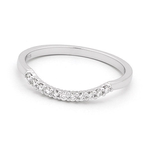 18ct White Gold Claw Set Diamond Fitted Wedding Ring