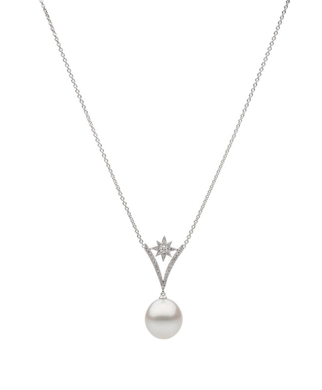 18ct White Gold Diamond & Pearl Pendant