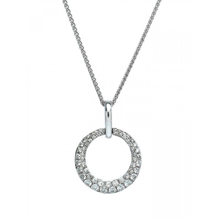 18ct White Gold Pave Set Diaomnd Circle Pendant