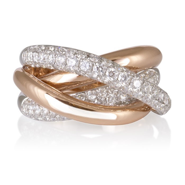 18ct Rose and White Gold Multi Band Pave Set Ring
