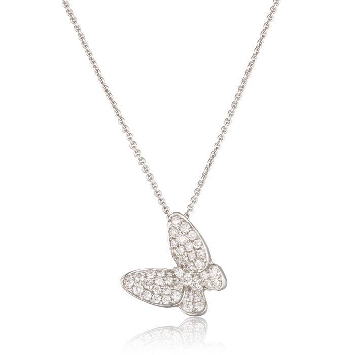 18ct White Gold Pave Set Diamond Butterfly Pendant