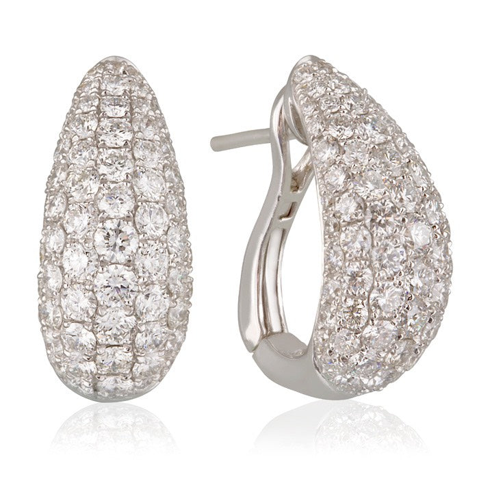 18ct White Gold 5 Row Pave Diamond Set Earring